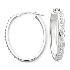 Diamond Fascination™ 14K White Gold Oval Hoop Earrings