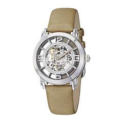 Stührling® Womens Tan Leather Strap Skeleton Automatic Watch