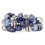Aris by Treska Birmingham Blue Bead Silver-Tone Coil Wrap Bracelet