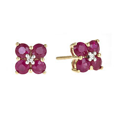 LIMITED QUANTITIES  Lead Glass-Filled Hot Pink Ruby and Diamond-Accent Flower Earrings