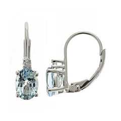 LIMITED QUANTITIES Genuine Aquamarine and Diamond-Accent Drop Earrings