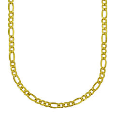 Made in Italy 18K Yellow Gold Hollow Figaro Chain Necklace