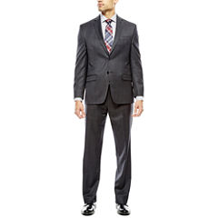 Collection by Michael Strahan Charcoal Windowpane Suit- Classic
