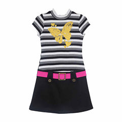 Lilt Short Sleeve Stripe Mock Neck Dress - Girls' 7-12