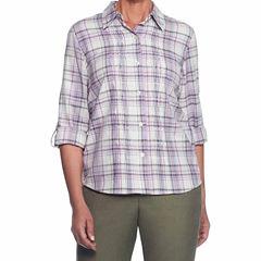 Alfred Dunner Palm Dessert Long Sleeve Plaid Button-Front Shirt