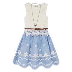 Knit Works Sleeveless Chambray Lace Dress - Girls' 7-16