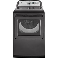 GE® 7.4 Cu. Ft. Capacity Aluminized Alloy Drum Gas Dryer ith HE Sensor Dry