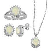Lab-Created Opal & White Sapphire 3-pc. Oval Jewelry Set