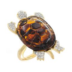 KJL by KENNETH JAY LANE Faux Tortoiseshell & Crystal Turtle Ring