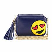 Olivia Miller Heart Eyes Emoji Camera Crossbody Bag