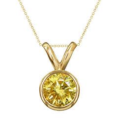 1/2 CT. T.W. Color-Enhanced Yellow Diamond Solitaire Pendant Necklace