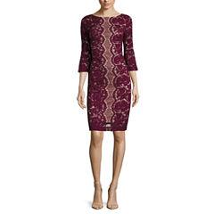 Danny & Nicole® 3/4-Bell-Sleeve Lace Sheath Dress