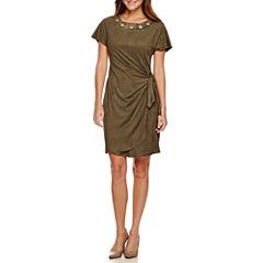 Robbie Bee® Short-Sleeve Suede Grommet-Neck Side-Tie Sheath Dress - Petite