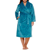 Sleep Chic Long Sleeve Plush Wrap Robe-Plus