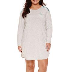 Sleep Chic Knit Long Sleeve Nightshirt-Plus