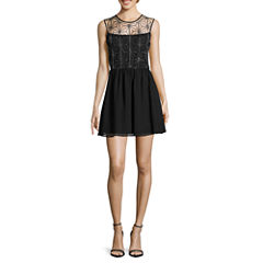 Love Reigns Sleeveless Sequin-Top Fit-and-Flare Dress - Juniors