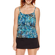 Jamaica Bay® Muted Reptile Triple-Tier Ruffle Tankini Swim Top or Side-Slit Skirt