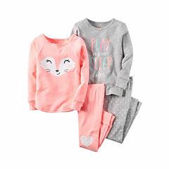 Carter's® 4-pc. Pink Fox PJ Set - Girls 4-8