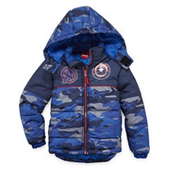 Boys Avengers Heavyweight Puffer Jacket-Preschool