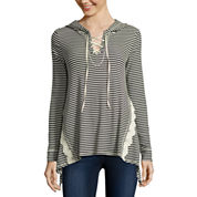 Rewind Long-Sleeve Ribbed Lace-Up Hoodie - Juniors