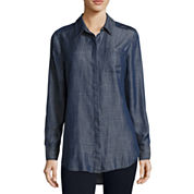 Liz Claiborne® Long Sleeve Chambray Shirt