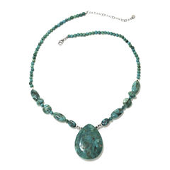Enhanced Turquoise Teardrop Sterling Silver Necklace