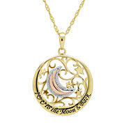 Diamond-Accent 14K Gold Over Sterling Silver Filigree Moon Pendant Necklace