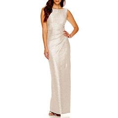 Blu Sage Sleeveless Drape-Back Metallic Formal Gown