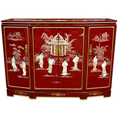 Oriental Furniture Red Slant Front Accent Cabinet