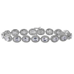 Lab Created White Sapphire & Diamond Accent Sterling Silver Bracelet