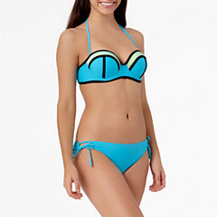 Arizona Mesh Colorblock Bandeau Swim Top or Keyhole Side-Tie Hipster Bottoms