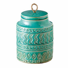 Medium Aqua Pattern Canister with Rope Pull