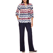 Alfred Dunner® Sierra Madre Long Sleeve  Stripe Shirt And Pant