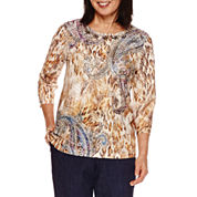 Alfred Dunner Sierra Madre 3/4 SleeveTexture Print Top