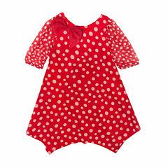 Rare Editions Long Sleeve A-Line Dress - Toddler Girls
