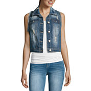 Wallflower Destructed Denim Vest - Juniors
