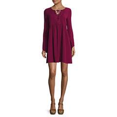 My Michelle® Long-Sleeve Tie-Front Dress - Juniors