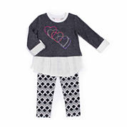 Little Lass® Heart Snit Leggings Set - Preschool Girls 4-6x