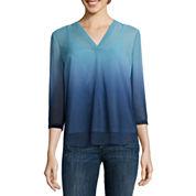 Liz Claiborne® 3/4-Sleeve Dip Dye Blouse