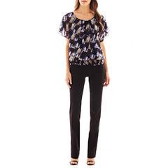 Alyx® Flutter-Sleeve Print Top or Straight-Leg Pull-On Pants