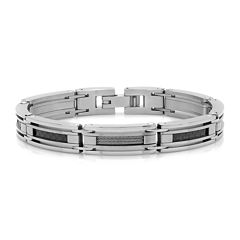 Mens Stainless Steel and Black Carbon Fiber Cable Link Bracelet