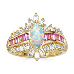 Lab-Created Opal, Pink & White Sapphire 14K Gold Over Silver Cocktail Ring