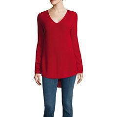 a.n.a® Long-Sleeve V-Neck Shaker Stitch Sweater