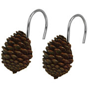Bacova Pinecone Silhouette Shower Curtain Hooks