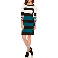 Studio 1 3/4 Sleeve  Wide Stripe Sweater Dress