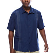 THE HAVANERA CO.® SHORT-SLEEVE OMBRE EMBROIDEREDSHIRT - BIG & TALL