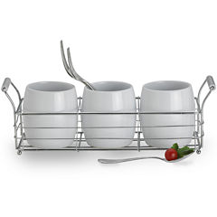 Towle® Living 4-pc. Ceramic Cup Metal Caddy Set