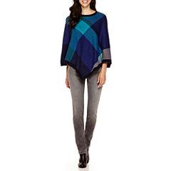 Liz Claiborne® Plaid Poncho or City-Fit Skinny Jeans
