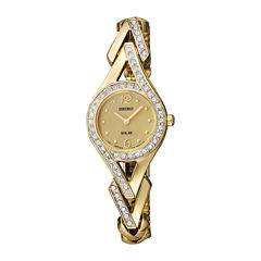 Seiko® Womens Crystal-Accent Gold-Tone Stainless Steel Solar Watch SUP176