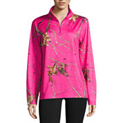 Mossy Oak 1/4 Zip Hot Pink Shirt